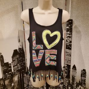 Justice size 18 girls black tee with fringes